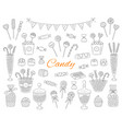 candy set hand drawn doodle vector image