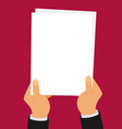 flat two hands holding white sheet vector image