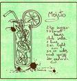 Hand drawn Mojito cocktail vector image