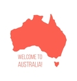red silhouette of Australia with inscription vector image