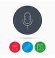 Retro microphone icon Karaoke sign vector image