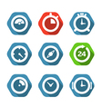 Different clock buttons collection vector image vector image