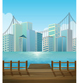 Pier with city view background vector image
