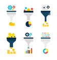 Funnel Chart Flat Objects Set isolated over White vector image