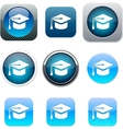 Graduation blue app icons vector image