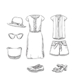 Hand drawn summer clothes for girl vector image