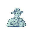 Man Fedora Hat Drinking Coffee Etching vector image