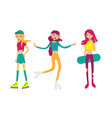 set with bright young girls skating and rolling vector image