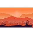 Silhouette of spruce forest with mountain vector image