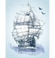 Boat on sea drawing Sailboat sketch vector image vector image