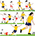 12 Female Soccer Silhouettes Set vector image