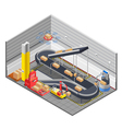Automatic Warehouse Isometric Interior vector image
