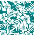Blue and white tropical flowers silhouettes vector image