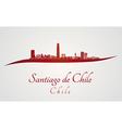 Santiago de Chile skyline in red vector image vector image