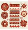 Folk ornaments elements vector image