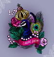 Crowned peacock in pearls vector image