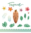 set of tropical plants vector image