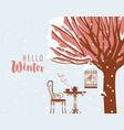 winter street cafe under tree and bird in cage vector image