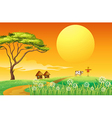 A farm with a cow and a scarecrow vector image vector image
