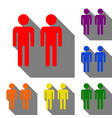 gay family sign set of red orange yellow green vector image