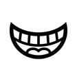 Big happy toothy cartoon smile icon vector image