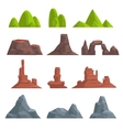 Cartoon hills and mountains set vector image