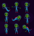 funny green aliens with big eyes wearing blue vector image