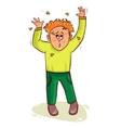 Little cartoon man waves wasps away vector image