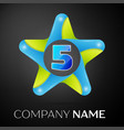 number five logo symbol in the colorful star on vector image