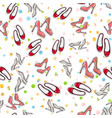 seamless pattern of shoes fashionable footwear vector image