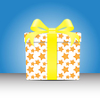 white Gift box with a yellow star pattern tie yell vector image