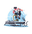 young guy riding bicycle bmx vector image