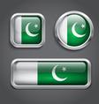 Pakistan flag glass buttons vector image