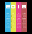 2018 simple business wall calendar with vertical vector image
