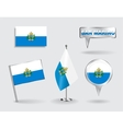 Set of San Marino pin icon and map pointer flags vector image vector image
