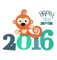 2016 Year with Monkey Retro Flat Design vector image vector image