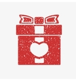 Icon red gift box with bow covered in white grit vector image