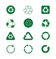 recycle symbol green arrows logo set web icon vector image