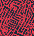 red industrial maze seamless pattern with grunge vector image