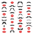 Set of mustache and women s red lips vector image vector image