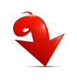 Red arrow on white background vector image vector image