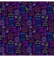 Houses Pattern Lineart Dark Big vector image