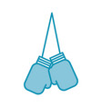 blue hanging boxing gloves vector image