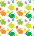 easter rabbit with eggs seamless texture vector image