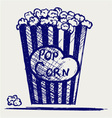 Popcorn exploding inside the packaging vector image