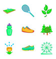 sport in park icon set cartoon style vector image