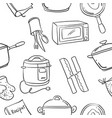 collection stock of kitchen set element doodles vector image