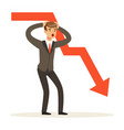 frustrated businessman character and red graph vector image