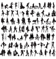 set of silhouettes of shoppers vector image