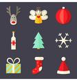 9 Christmas Icons Set 4 vector image